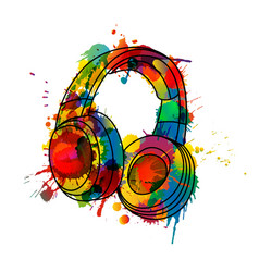 headphones made colorful splashes vector image