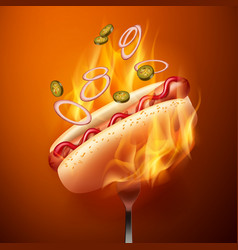 Hot dog with grilled vector