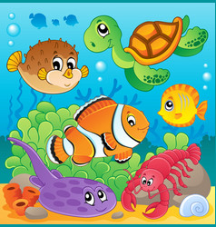 Image with undersea theme 6 vector