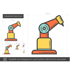 Industrial robot line icon vector