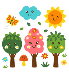 isolated funny forest kawaii part 1 vector image