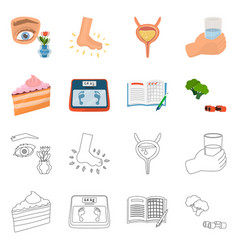 isolated object of diet and treatment symbol set vector image