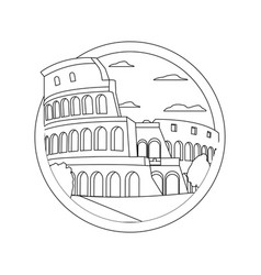 Line medieval coliseum rome with nice trees vector
