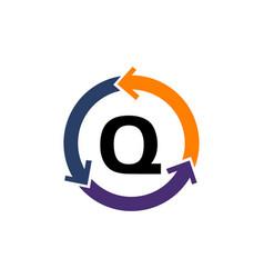 management process letter q vector image