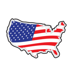 map of the united states with its flag vector image