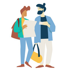 men or friends travelers with baggage tickets and vector image