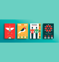 Merry christmas flat folk art decoration card set vector