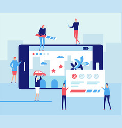 Mobile gaming development - flat design style vector