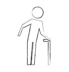 old man walking stick pictogram image vector image