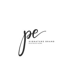 P e pe initial letter handwriting and signature vector