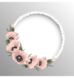 Pink poppies floral round frame vector image
