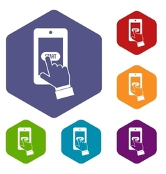 Playing games on smartphone icons set vector image