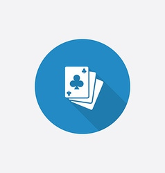 poker Flat Blue Simple Icon with long shadow vector image