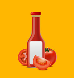 realistic detailed glass bottle for tomato sauces vector image