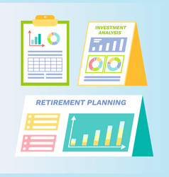Retirement planning and investment plan papers vector