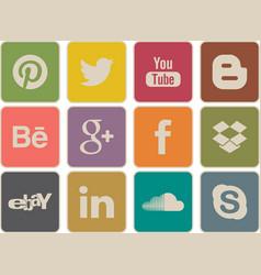Retro social media icons vector