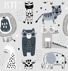 Seamless childish pattern with cute bears tiger vector