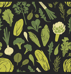 seamless pattern with tasty green plants salad vector image