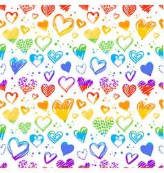 Seamless pattern with valentine grunge hearts vector