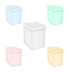 Set colorful closed unprinted boxes vector image