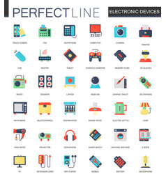 set flat electronic devices icons vector image