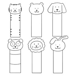 set of animal bookmark vector image