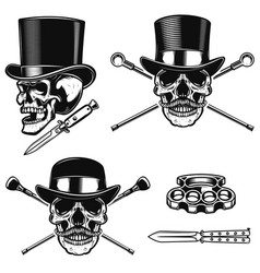 Set of gentleman skull in vintage hats design vector