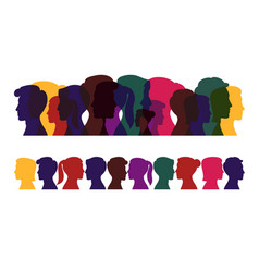 Silhouettes people multicolored profile men vector