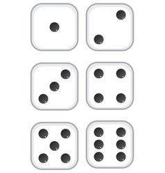 Six dices with black dots on white background vector
