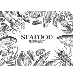 Sketch seafood hand drawn fresh fish lobster vector