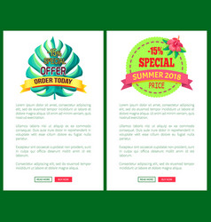 special offer order today off promo posters set vector image