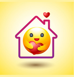 stay home social distancing smiley icon caring vector image