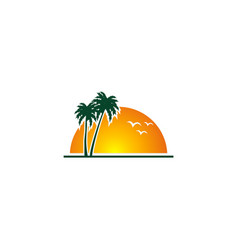 Sunset beach palm tree tropic logo vector