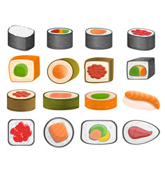 sushi roll icon set cartoon style vector image