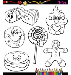 sweets set cartoon coloring book vector image