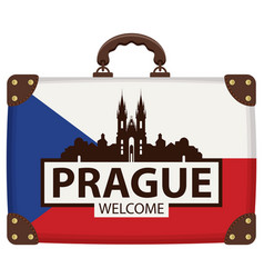 Travel bag with czech flag and church of our lady vector