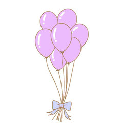 violet balloons with cute ribbon vector image
