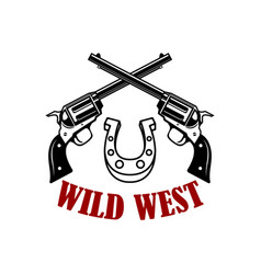 wild west crossed revolvers on white background vector image