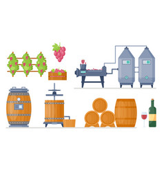 Wine production process in winery factory vector