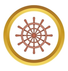 Wooden ship wheel icon vector