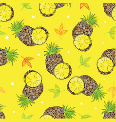 yellow background with scribbles pineapples vector image