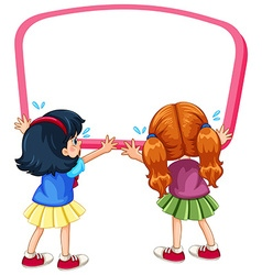 Board template with two girls crying vector image vector image