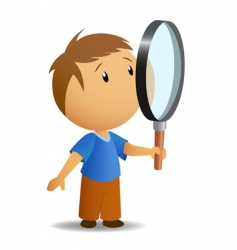 boy with magnifer vector image