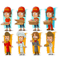 Cartoon pizza delivery boy and chef character set vector