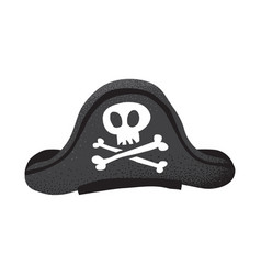 cartoon style grunge classic pirate leather hat vector image