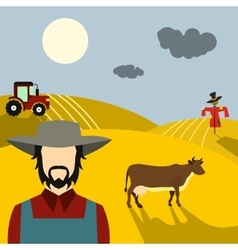 Farm flat concept vector image vector image
