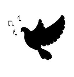 Silhouette singing bird vector image