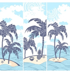 Vintage banners of the island in the ocean vector image vector image
