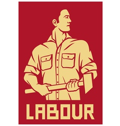worker holding a hammer poster vector image