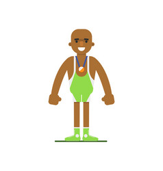 Young african weightlifter in sports uniform vector